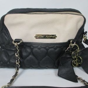 Betsey Johnson Leather Purse Black Quilted Hearts